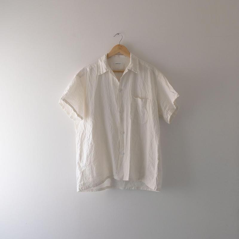 リネン半袖シャツ(白・オープンカラー)/Men's
