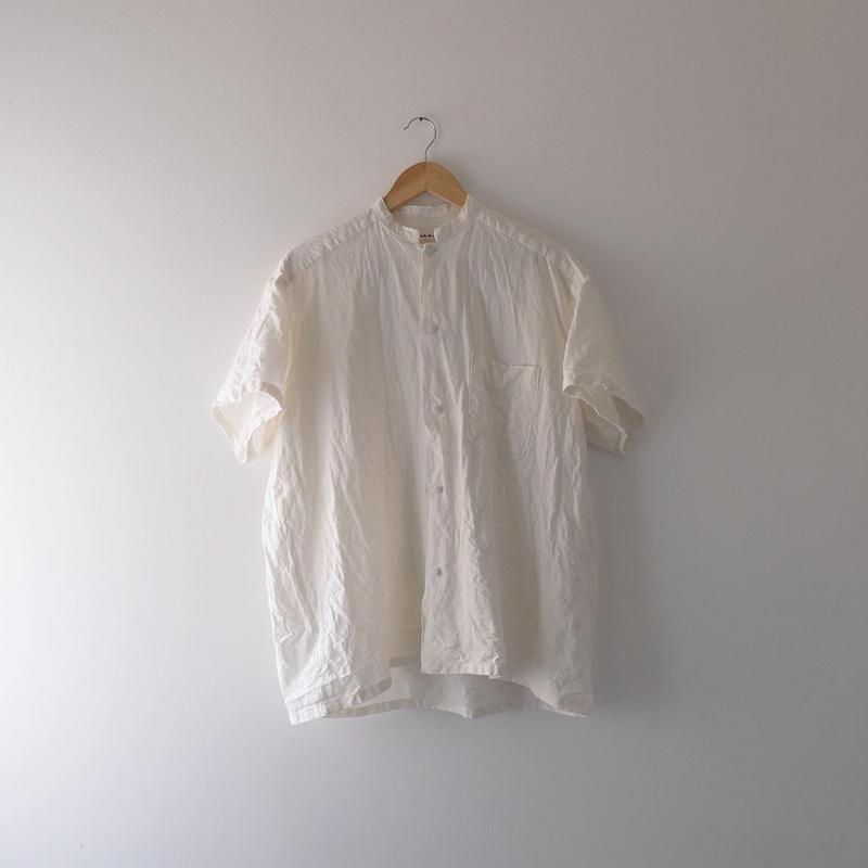リネン半袖シャツ(白・スタンドカラー)/Men's