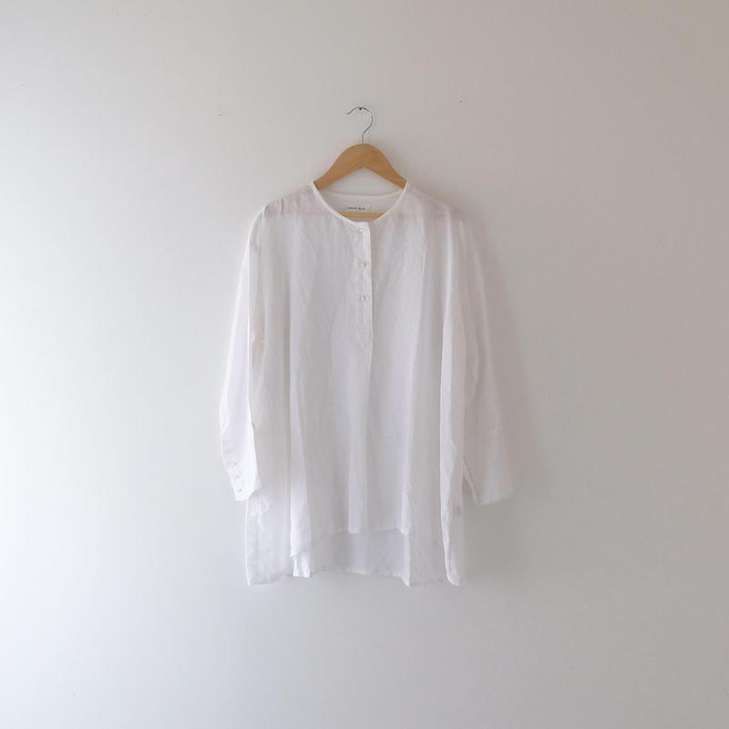 リネンプルオーバーシャツ(白/ノーカラー)/Lady's