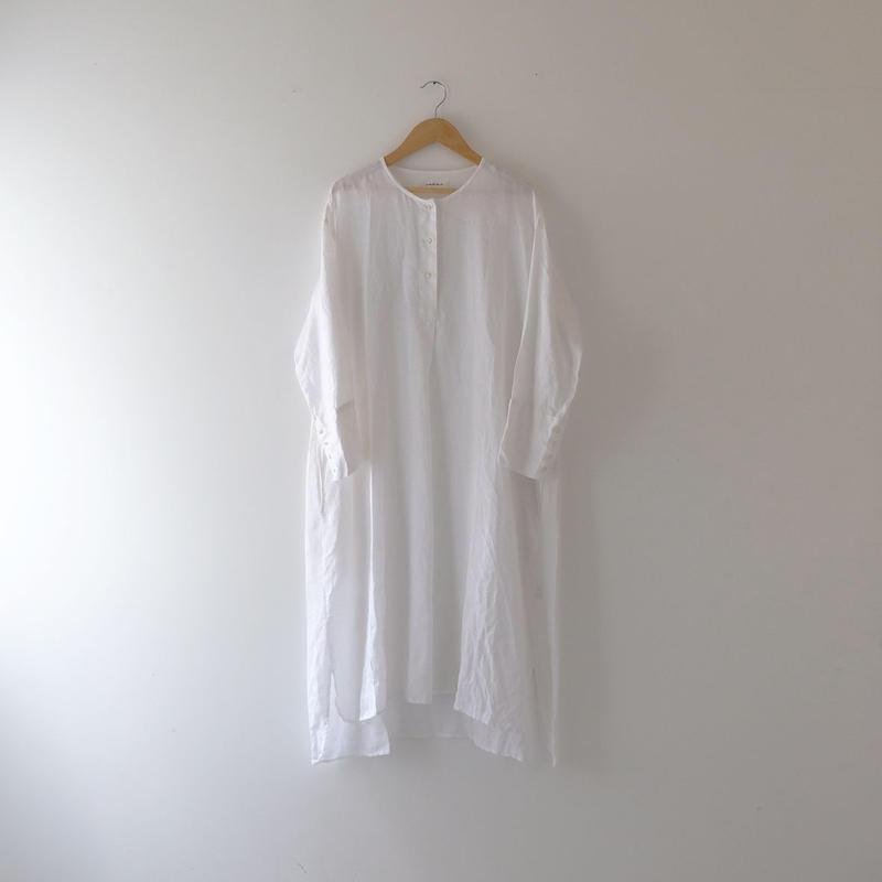 リネンプルオーバーロングシャツ(白/ノーカラー )/Lady's
