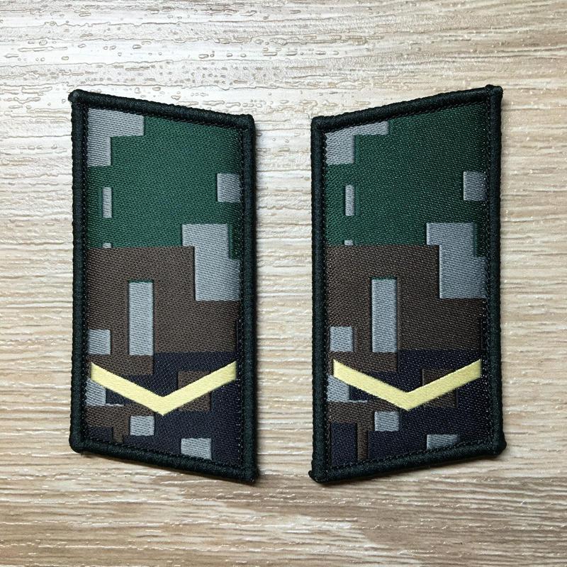 【列兵】中国人民解放軍07式迷彩服用 林地迷彩柄 襟章 階級章