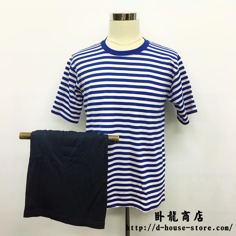 中国人民解放軍 海軍 インナーシャツ Tシャツ 短パン ボーダーシャツ上下セット
