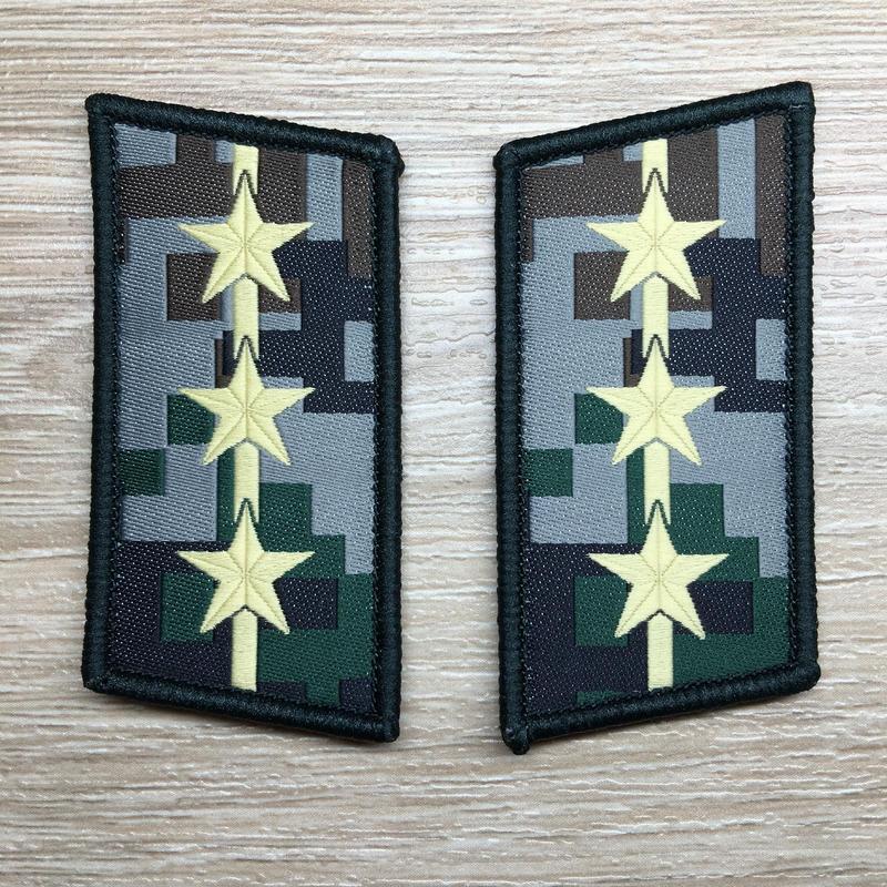 【上尉】中国人民解放軍07式迷彩服用 林地迷彩柄 襟章 階級章