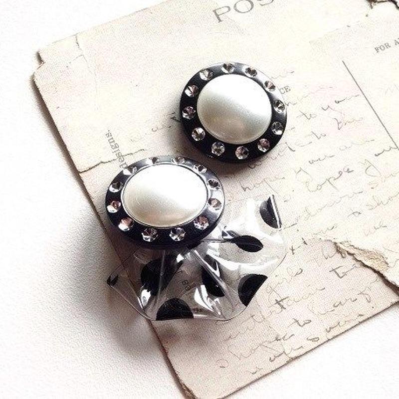 (再)Vintageパールボタンドットタッセルイヤリング(黒)