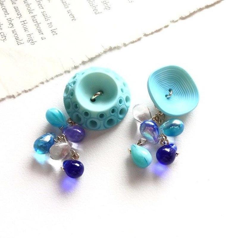 Vintageボタン&mitsuboピアス/イヤリング  (ブルー・B)