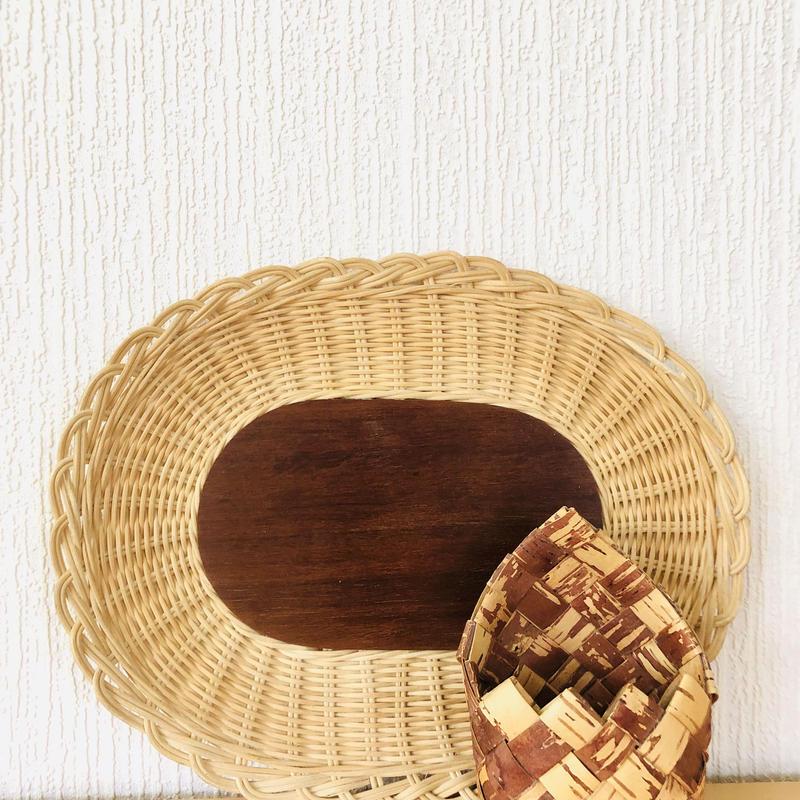 籐とチークのスタイリッシュなトレイ/オーバル31cm/白樺細工の小物入れ/2個セット