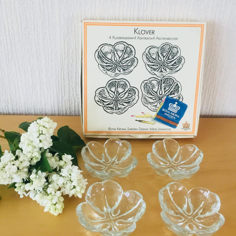 Royal Krona/ローヤルクローナ/四つ葉のクローバー/ガラスの小鉢4枚セット/箱付きオリジナル