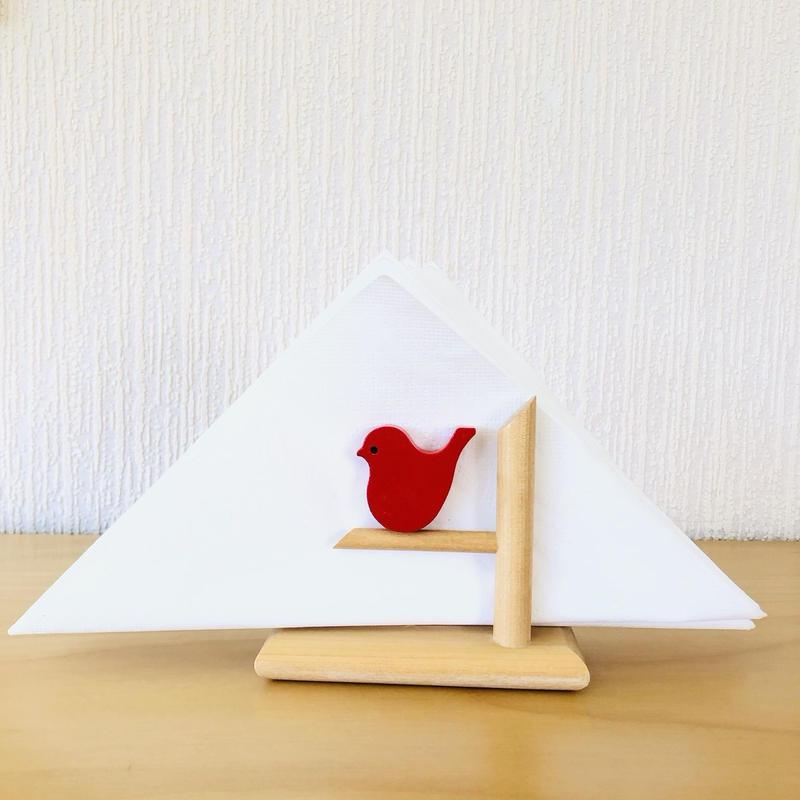 Aarikka/アーリッカ/小鳥さんのペーパーホールダー/赤