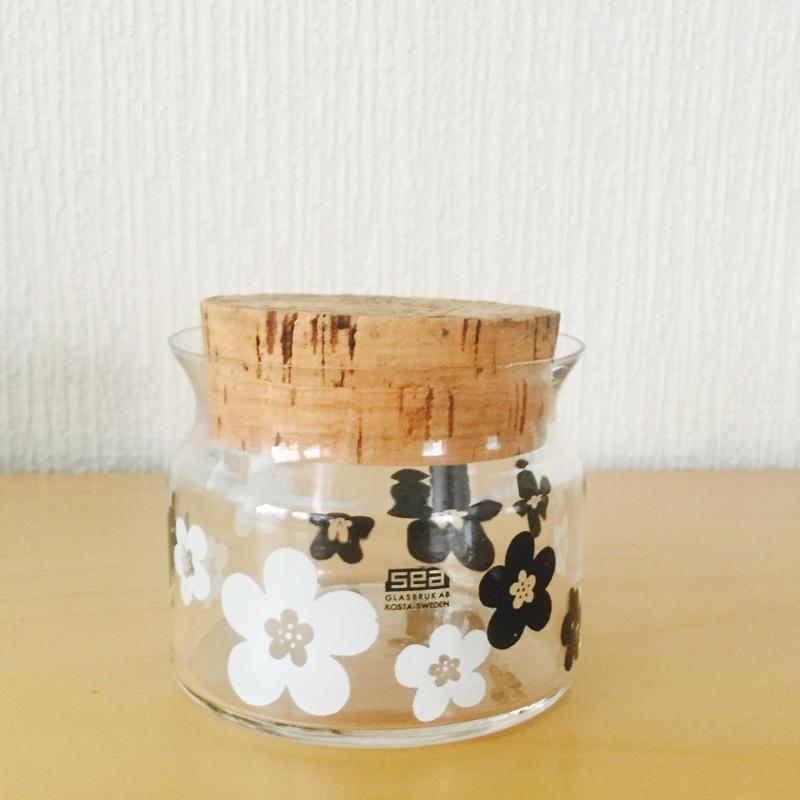 SEA BODA/ボーダ/レトロなお花柄のガラスのキャニスター