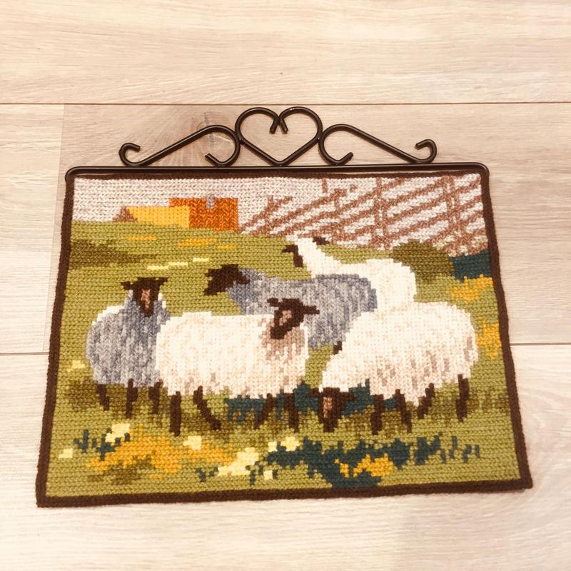 タペストリー/トヴィスト刺繍/羊さん