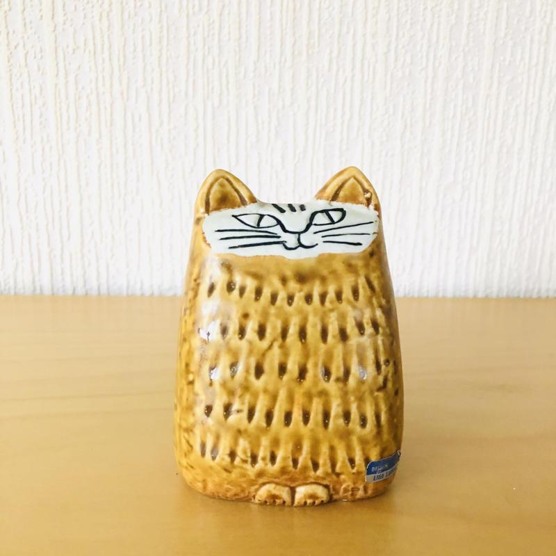 Gustavsberg/グスタフスベリ/Lisa Larson/リサ ラーソン/Liten Katt/小さなネコ/Gulbrun/黄茶