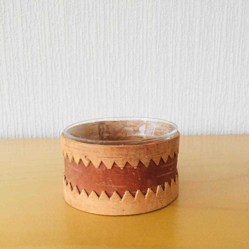 白樺細工とガラス(Arabia)のシュガーボウル/Naver/ネーバー