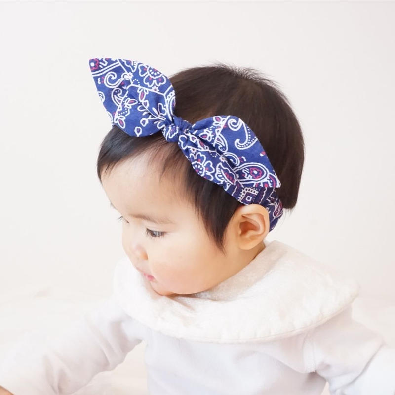 バンダナ柄 うさ耳 リボン ヘアバンド(日本製)Sサイズ