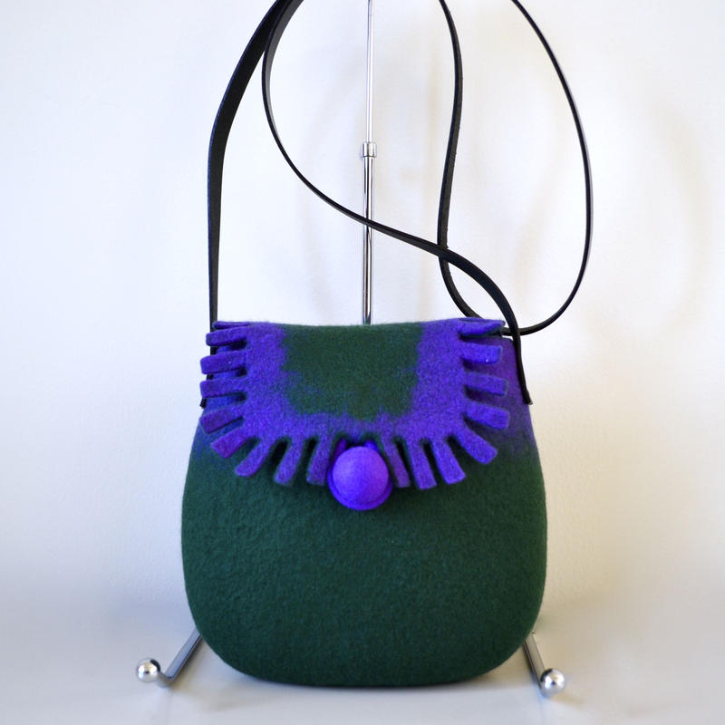 Shoulder bag ♪dark green & purple