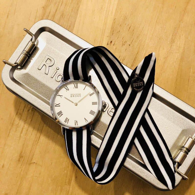 Rich Gone Broke (Silver M Case - BK Stripe Liberty Strap)