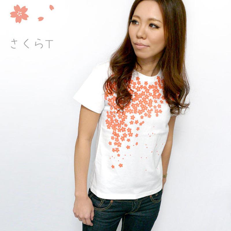 hw001tee - さくら Tシャツ- BPGT -G- 桜 サクラ 桜吹雪 和柄 花柄 オリジナル ホワイト 白 半袖