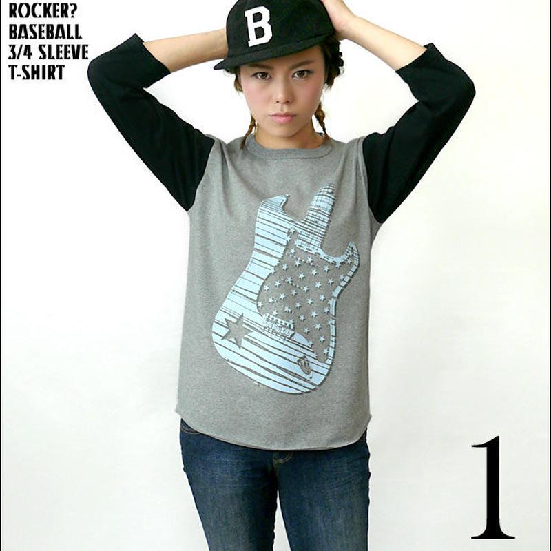sp029bbt - Rocker? 3/4スリーブ ベースボールTシャツ - BPGT -G- ライブ フェス ロック バンドTシャツ ギター 7分袖