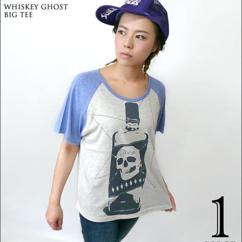 2週間セール!! tgw032grg - Whiskey Ghost ラグラン ガールズ ビックTシャツ - The Ghost Writer -G- パンクロックTシャツ スカル ドクロ
