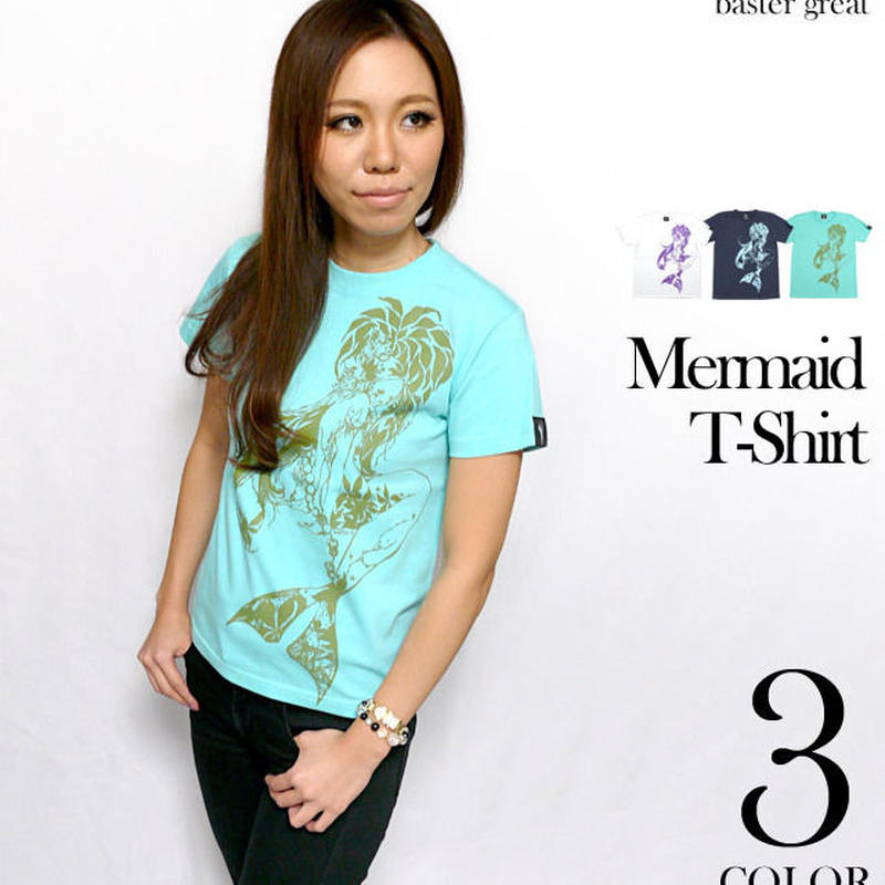 bg005tee - マーメイド(Mermaid)Tシャツ -G- 人魚姫 童話 イラスト コラボTシャツ