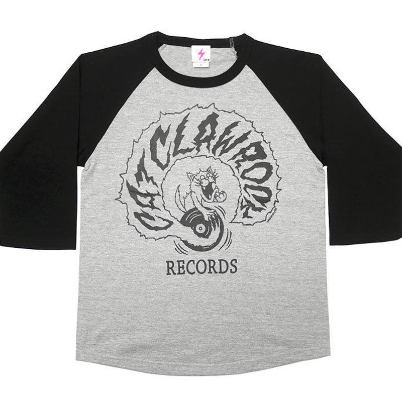 har016rg-mgy - CAT CLAW ROCK(キャット クロー ロック)ラグランスリーブ (ミックスグレー×ブラック袖) -G- ネコ 猫 レコード アメカジ 7分袖 七分袖