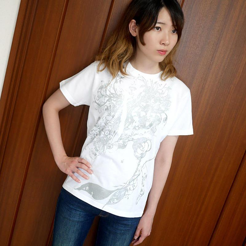 bg013tee-wh - 魚座ガール Tシャツ (ホワイト)-G- 半袖 うお座 星座 イラスト かわいい カジュアル メンズ レディース