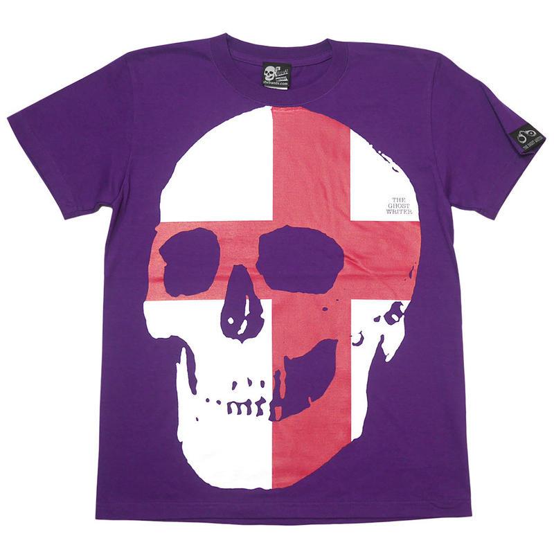 tgw041tee - セント ジョージ クロス スカル Tシャツ -G- 半袖 パンクロック ドクロ イングランド 十字旗 パープル 紫色