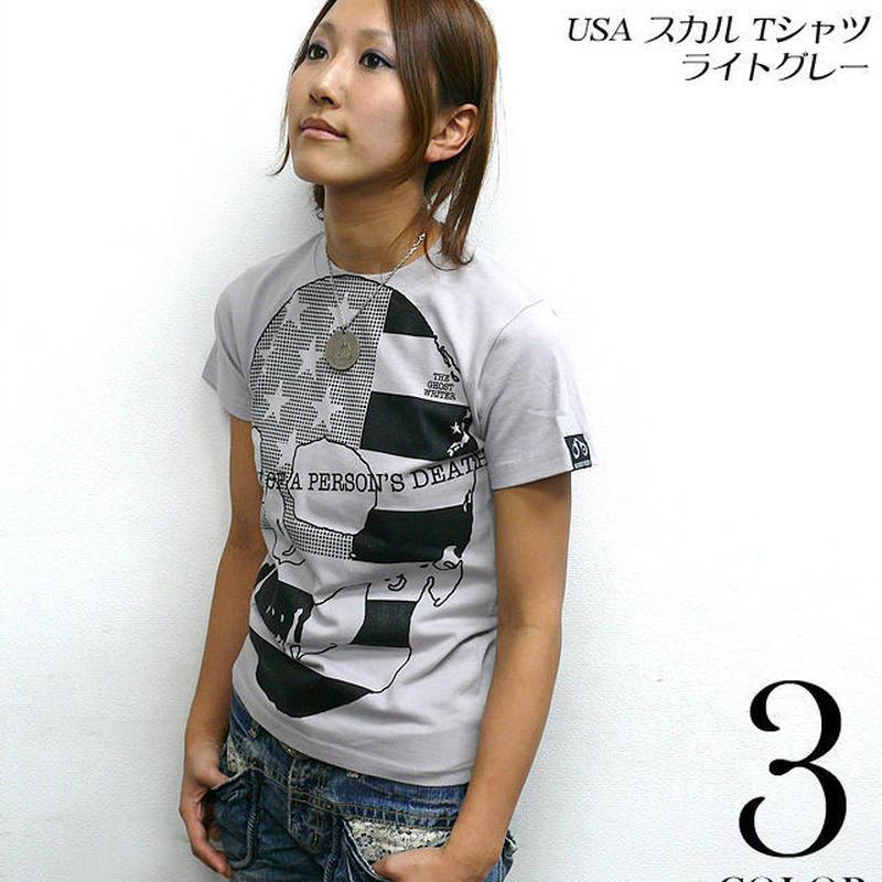 2週間セール!! tgw019 - USA スカル Tシャツ ( ライトグレー ) - The Ghost Writer -G-  パンクロックTシャツ ドクロ アメリカ 灰色 半袖