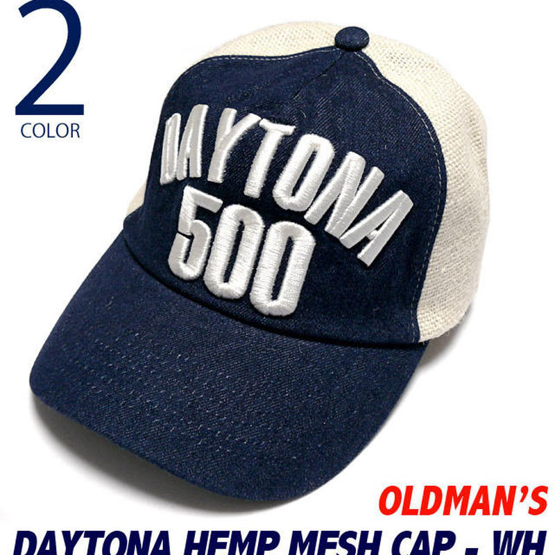 old-816-wh - デイトナ ヘンプ メッシュキャップ(ホワイト)【 OLDMAN'S オールドマンズ 】-G-( HEMP MESH CAP アメカジ デニム ヒッコリー 刺繍 帽子 )