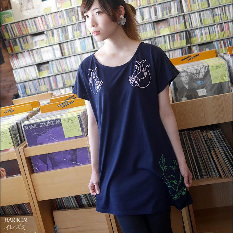har004opt - イレズミ Tシャツワンピース -HARIKEN-G- タトゥー パンクロック アメカジ ガールズファッション ネイビー 紺色