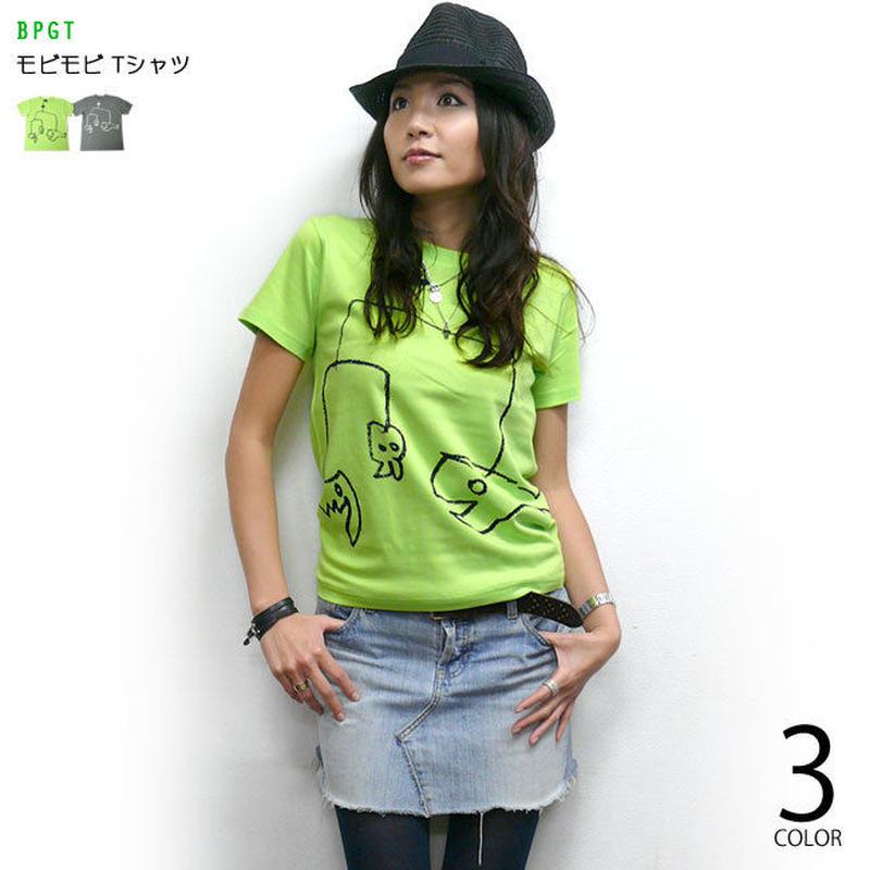 sp060tee-lgr - モビモビ Tシャツ (ライムグリーン)-G- 半袖 イラスト 落書き らくがき かわいい アメカジ カジュアル