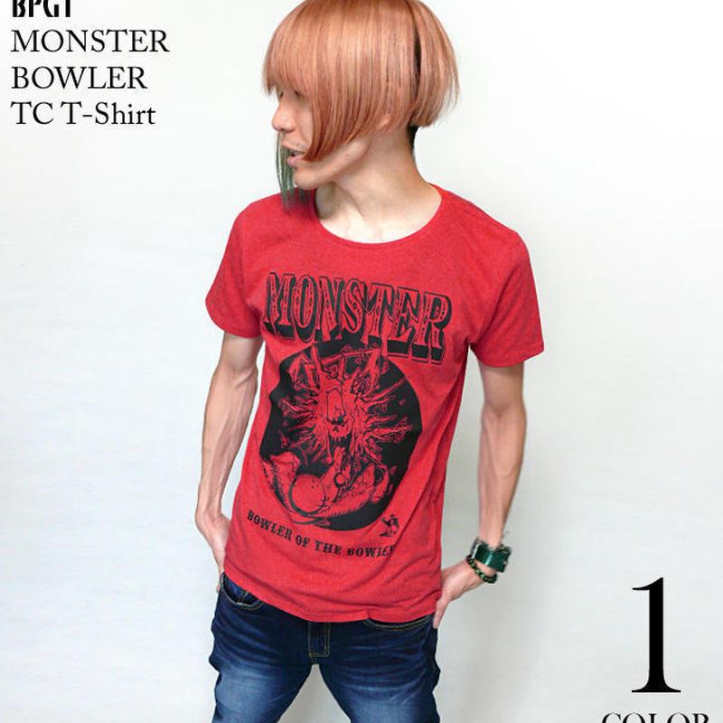 sp027tc - MONSTER BOWLER(モンスターボーラー)TC Tシャツ - BPGT -G-( 怪獣 ハードコア アメカジ ROCK ロック レッド 赤 )