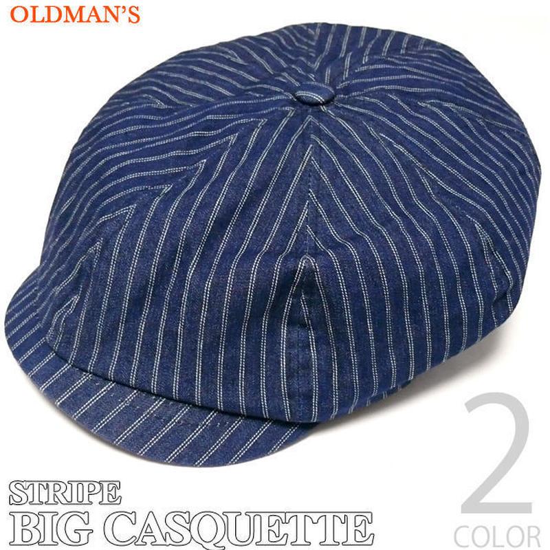 old-813 - ストライプ ビッグ キャスケット ( ライトブルー ) - OLDMAN'S - オールドマンズ -G- ( アメカジ ワークキャップ 帽子 メンズ ユニセックス )