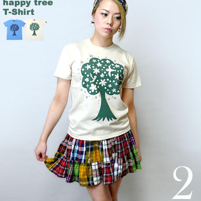 mn007tee - happy tree ( ハッピー ツリー ) Tシャツ - なかひらまい -G-  かわいい イラスト カジュアル コラボ 半袖 メンズ レディース
