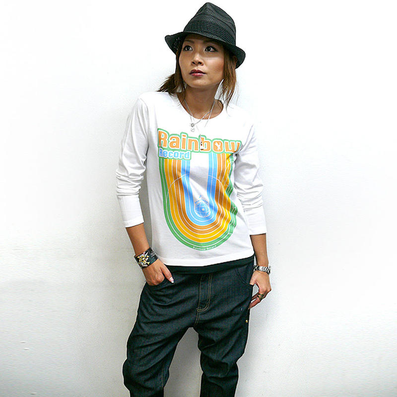 夏セール!! sp028lt - Rainbow Record (レインボーレコード) ロングスリーブTシャツ -G- 虹 ロゴ かわいい ロンT 長袖 メンズ レディース カジュアル