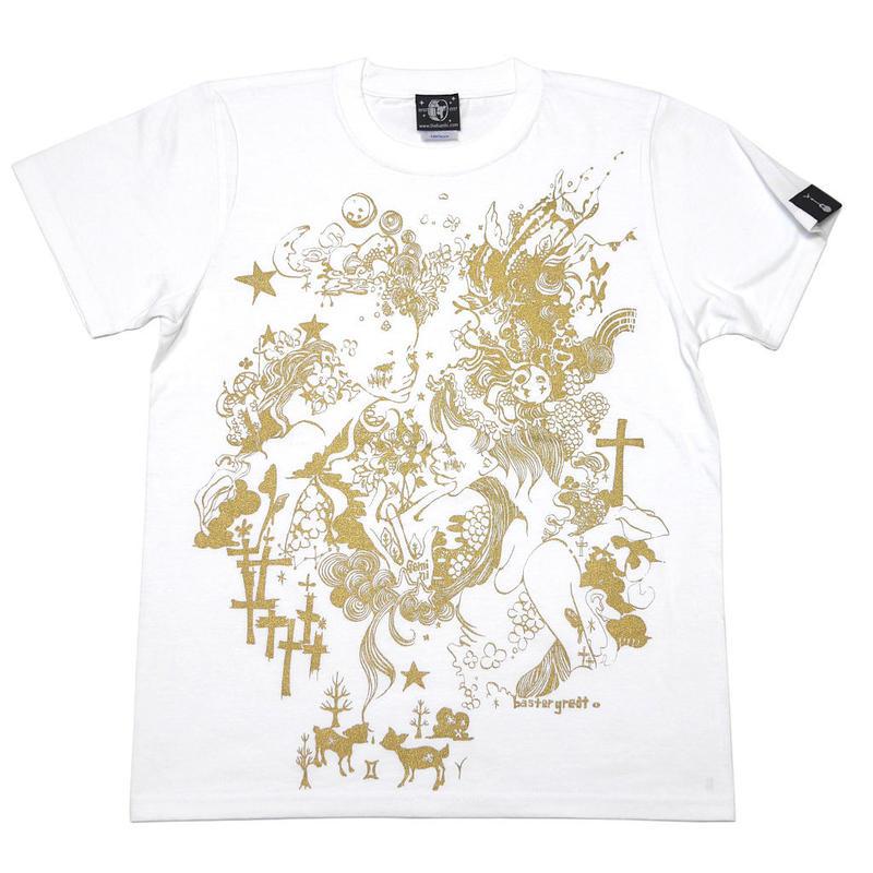 bg008tee-wh - 双子座ガール Tシャツ (ホワイト) -baster great-G- ふたご座 星座 かわいい カジュアル メンズ レディース 半袖