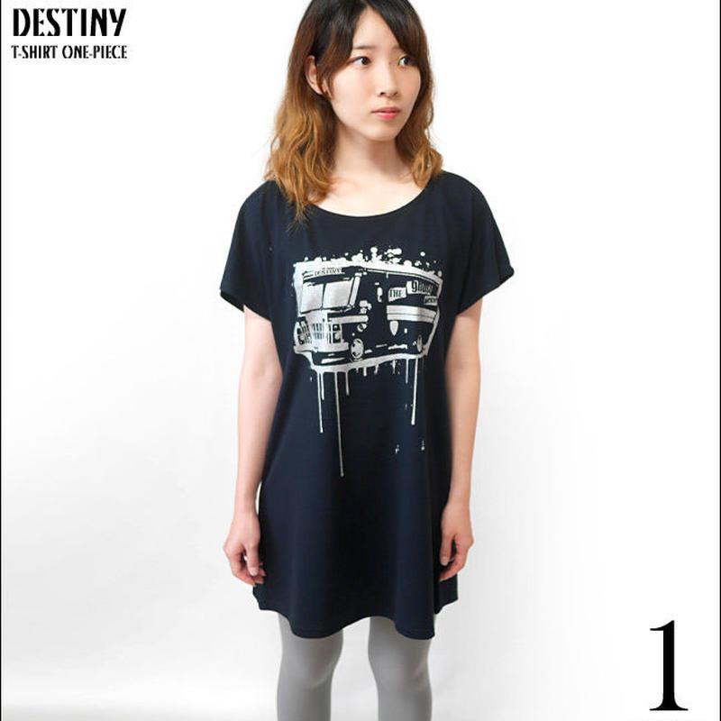 tgw003opt - DESTINY (ディスティニー) Tシャツワンピース -G- カジュアル パンクロック PUNKROCK かわいい ブラック 黒色 半袖