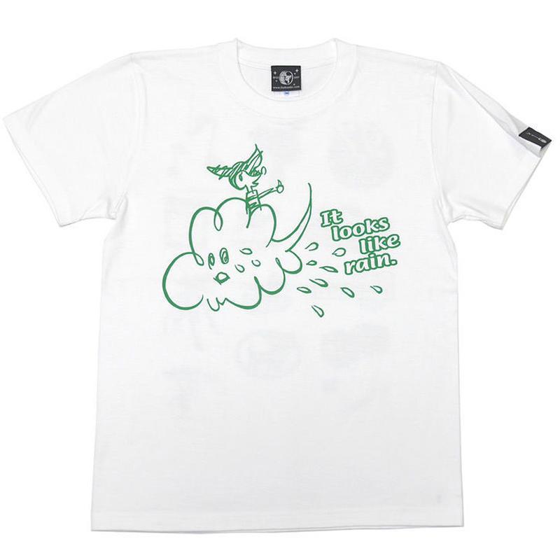 sp016tee-wh - Rain Tシャツ (ホワイト)-G- 白色 レイン 雨 イラスト かわいい 半袖