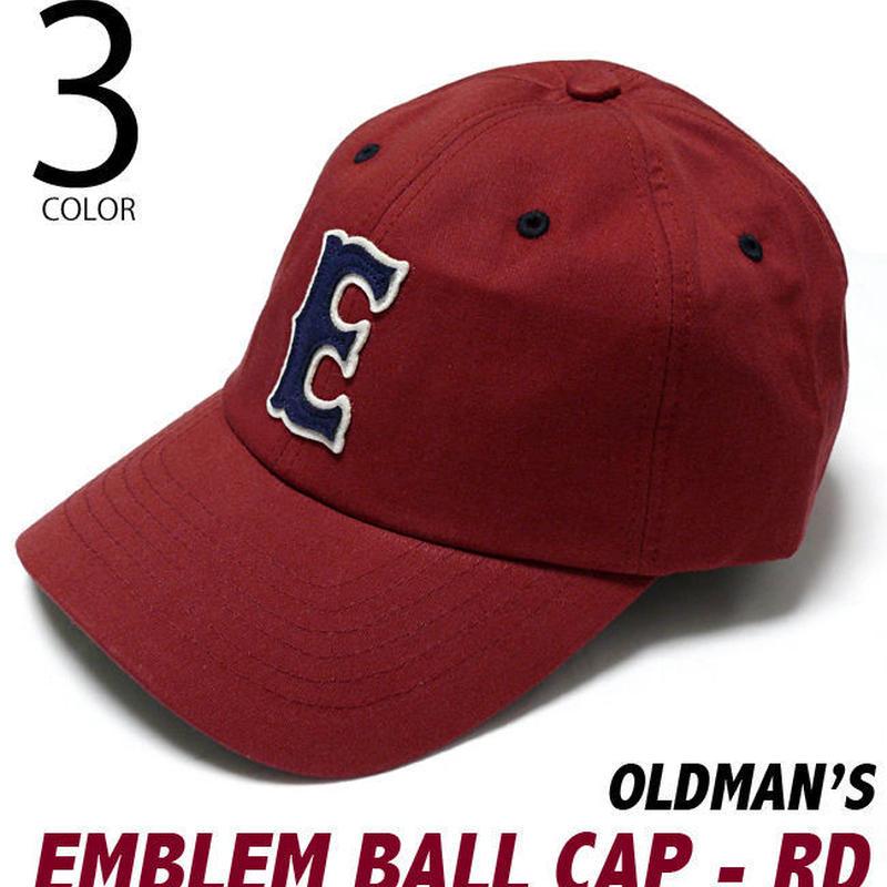 old-2425-rd - エンブレム ボール キャップ(レッド) - OLDMAN'S -G-( CAP ベースボールキャップ アメカジ 野球帽 帽子 )