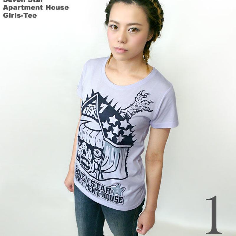 pi005gu - セブンスターマンション ガールズ UネックTシャツ - pornoinvarders -G-( ハードコア ロック パンク モンスター コラボ )