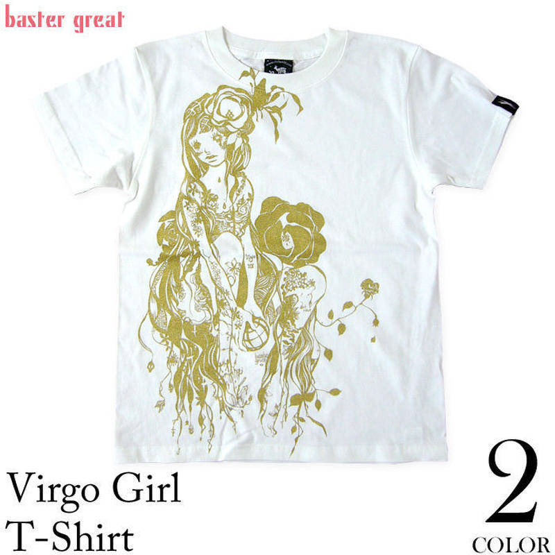 bg011tee - 乙女座(Virgo Girl)ガール Tシャツ( ホワイト ) -G-( おとめ座 バルゴ 星座 神話 星占 イラスト オリジナル コラボTee )