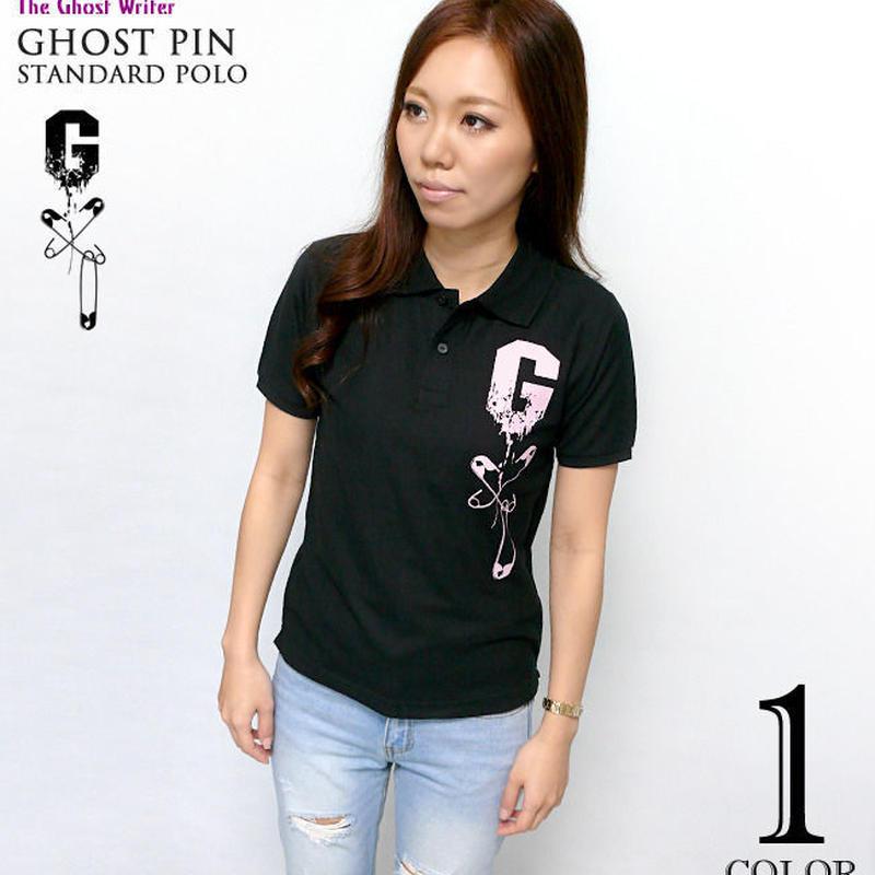 tgw018spo - ゴーストピン スタンダード ポロシャツ-G-ポロ ドクロ パンク ロック ブラック 黒 半袖