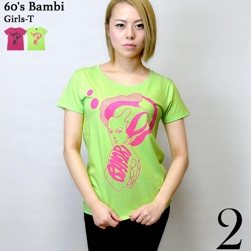 kn001tgu - 60's Bambi ガールズ UネックTシャツ - KeikoNasu 那須慶子 -G-( 60年代 モード コラボ バンビ かわいい モッズ 半袖 )