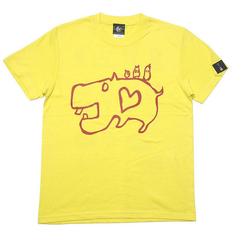 sp053tee-ye - カバ Tシャツ (イエロー)-G- 半袖 黄色 かば 河馬 アニマルイラスト カジュアル コットン綿100%