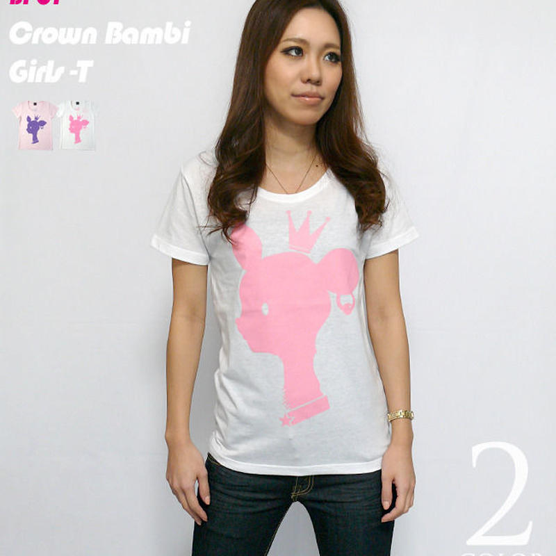 sp001-gu - 王冠バンビ ガールズUネック Tシャツ -G-( 子鹿 ばんび bambi ロゴ アニマル )