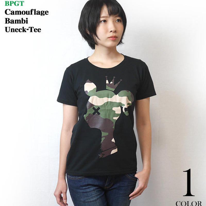 sp088ut - 迷彩 バンビ UネックTシャツ -G- カモフラージュ 子鹿 ロゴ アニマル柄 可愛い ブラック 黒 半袖