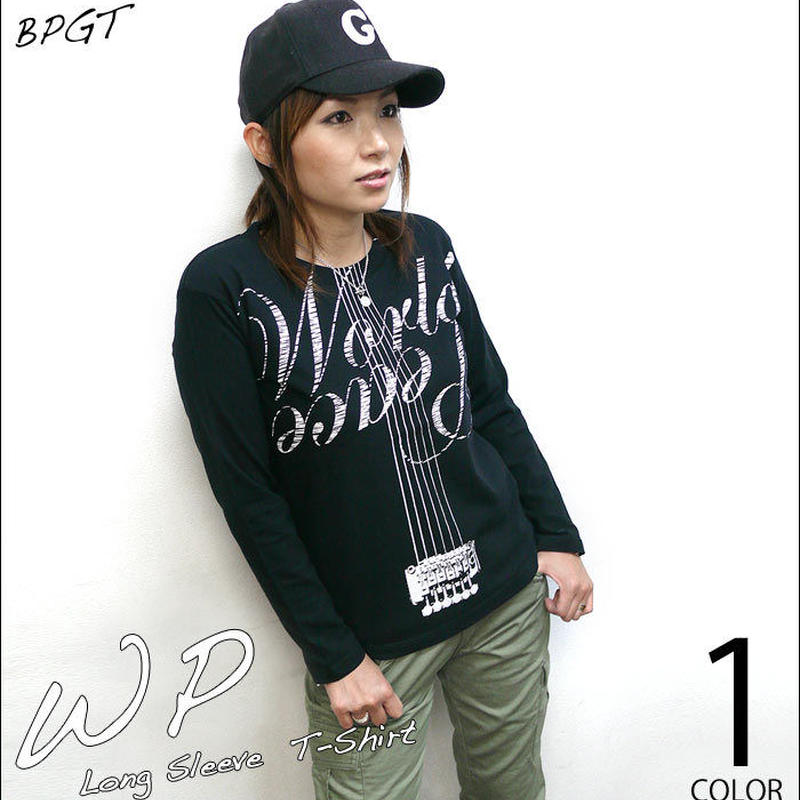12daysセール! sp073lt - WP ロングスリーブTシャツ -G- ロンT 長袖 平和 カットソー ロックTシャツ ギター カジュアル