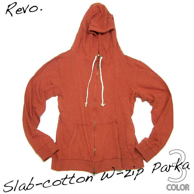 th-0141-or - スラブ天竺 W-ZIPパーカー(オレンジ)Revo.-G-( ジップアップパーカー カジュアル ヴィンテージ感 長袖 )