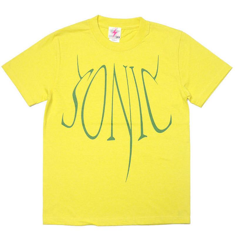12daysセール! a02-tee-ye - SONIC(ソニック) Tシャツ (イエロー)-G- 半袖 ロックTシャツ ROCK 音速の 音楽 バンドT 黄色