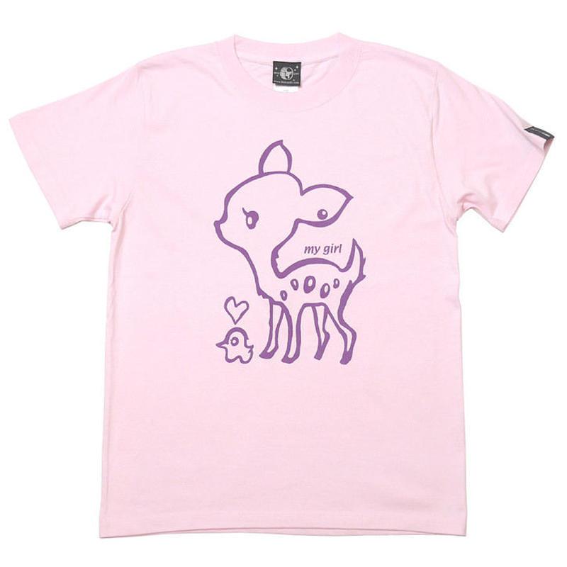sp017tee -lp - my girl Tシャツ (ライトピンク)-G- 半袖 バンビ こじか イラスト かわいい 桃色