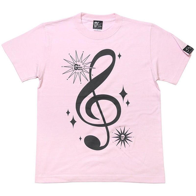 tgw016tee-lp - サウンド Tシャツ (ライトピンク) -G- 半袖 桃色 ト音記号 音楽 アメカジ カジュアル ユニセックス